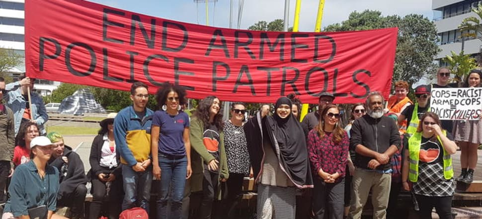South Aucklanders protest about armed police patrols in their community. Photo: RNZ/Jordan Bond