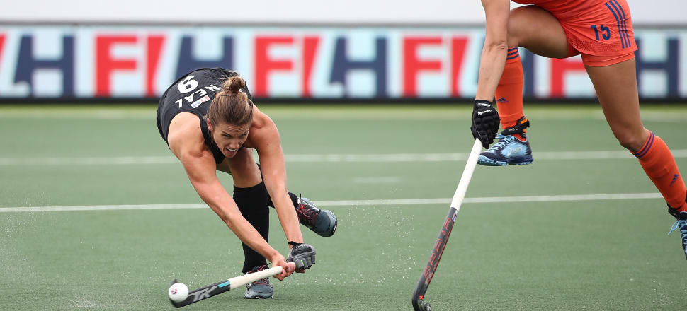 Black Stick defender Brooke Neal executing a powerful shot in a Pro League match against world hockey champions, The Netherlands, in Auckland in January. Photo:  WorldSportsPics/FIH