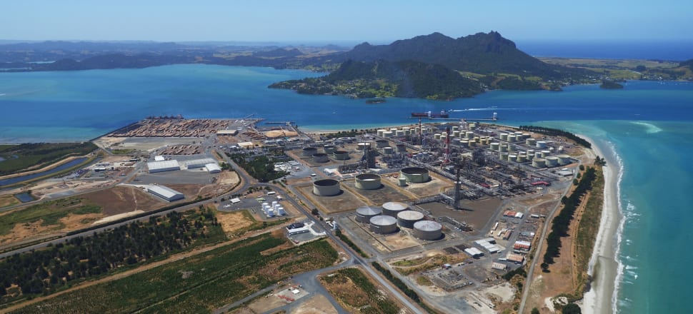 Northport lies to the left of Refining NZ, Whangarei. Photo: Supplied