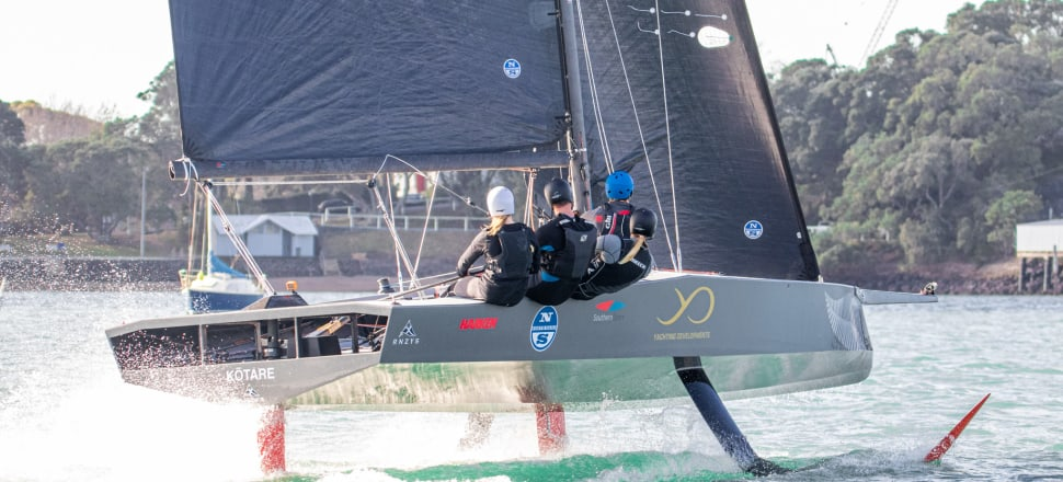First of its kind: The new AC9F foiling monohull, built for the 2021 Youth America's Cup, has been trialling on Auckland's Waitemata Harbour this week with a mixed crew. Photo: Georgia Schofield/Yachting Developments