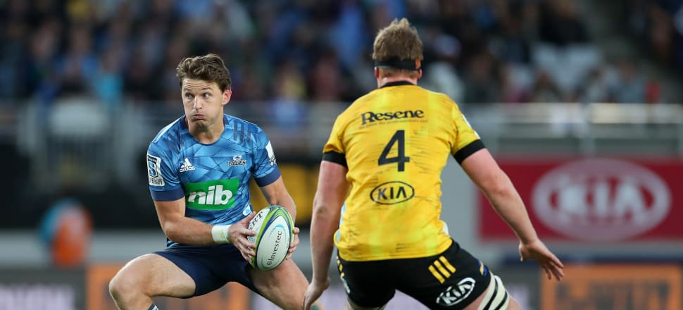 Former Hurricane Beauden Barrett in action for the Blues at Eden Park on Sunday. Photo: Getty Images