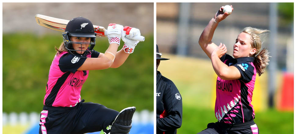 Sister act:  Amelia (left) and Jess Kerr performing for the White Ferns last summer. Photos: Getty Images.