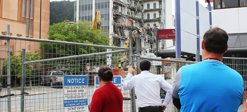 "Demolition works in Wellington following the 2016 Kaikoura earthquakes: a massive quake in the next few years nearly ""writing off"" the capital is Eric Crampton's nightmare scenario. Photo: Lynn Grieveson"