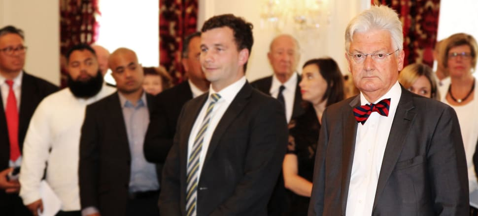 United Future's Peter Dunne at the swearing in of Bill English's new Cabinet, Government House, 20 December 2016 (standing next to ACT leader David Seymour). Photo: Lynn Grieveson