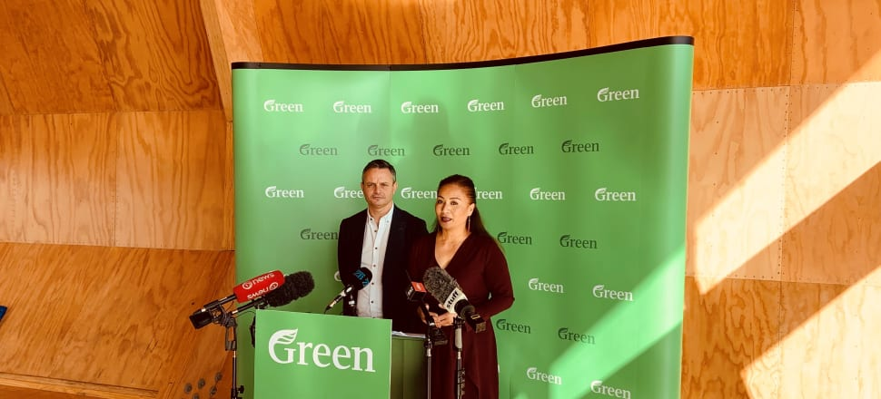 Marama Davidson, with co-leader James Shaw, launched the Green Party's Poverty Action Plan.  Photo: Tim Murphy
