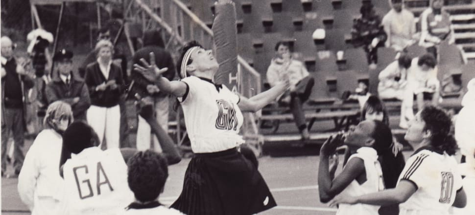 Silver Fern goal keep Tracey Fear leaps for a rebound at the 1987 Netball World Cup in Glasgow. Photo: Netball NZ archives.