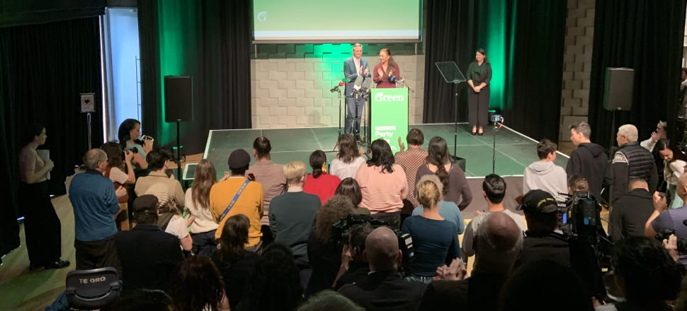 Green co-leaders James Shaw and Marama Davidson at the poverty action plan launch. Photo: Tim Murphy