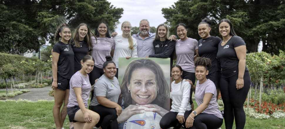 The Class of 2020: the 12 latest recipients of three-year scholarships from the Tania Dalton Foundation with the late Silver Fern's husband, Duane Dalton. Photo: Jo Caird.