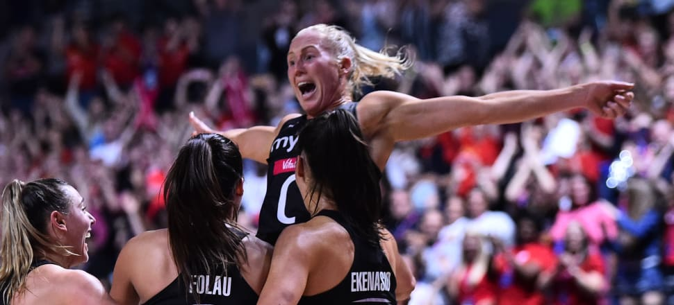 Laura Langman finally allows herself to celebrate after the Silver Ferns won the 2019 Netball World Cup. Photo: Getty Images.