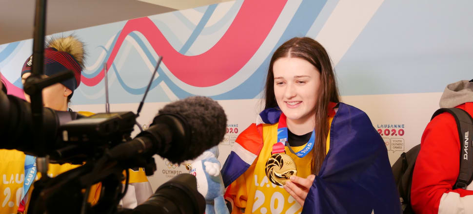 Fourteen-year-old ice hockey player Katya Blong became the centre of unexpected media attention after winning New Zealand's first gold medal at a Youth Winter Olympics. Photo: OISphotos/Olympic.org.nz