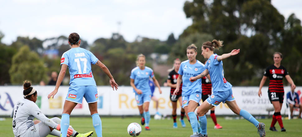 Rebekah Stott about to strike Melbourne City's third goal in their 5-1 W-League semifinal victory over Western Sydney Wanderers last weekend. Photo: Getty Images.