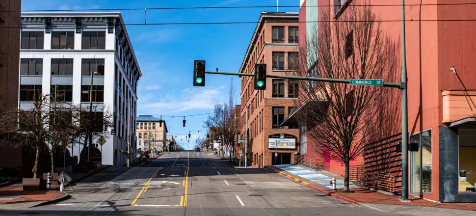 The empty streets of Tacoma, Washington, under lockdown. Photo: Tom Collins/Flickr