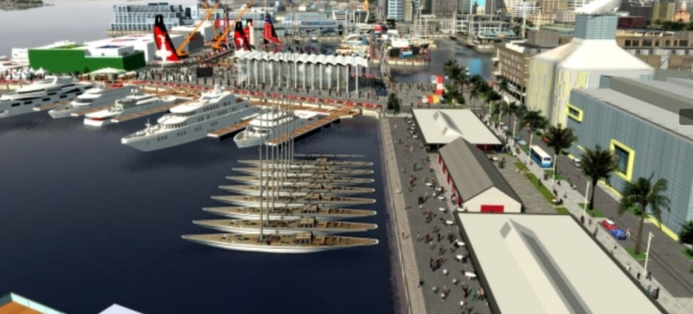 An artist's impression of the North Wharf area at America's Cup time. Photo: Supplied