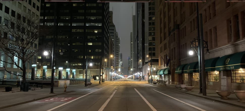 The empty streets of Denver under lockdown, March 15, 2020. Photo: Jesse James/Flickr