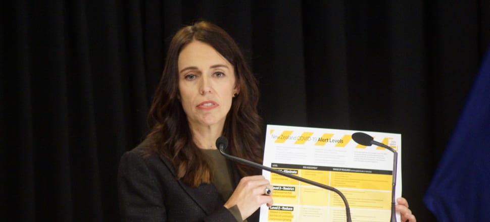 Prime Minister Jacinda Ardern reveals the new Covid-19 alert system. Photo: Sam Sachdeva.