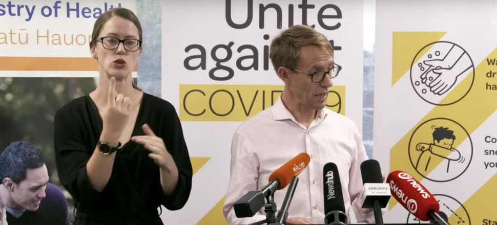 The Director-General of Health, Ashley Bloomfield, at a weekend Covid-19 briefing. Photo: Screenshot MoH livestreasm.