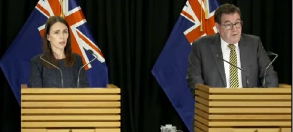 PM Jacinda Ardern and Finance Minister Grant Robertson announce the lockdown measures. Photo: Screenshot from RNZ livestream