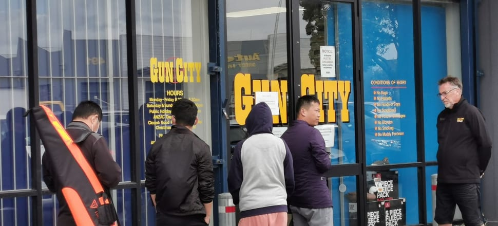 Part of the queue at  Gun City, Penrose, on Tuesday.  Photo: Mark Jennings