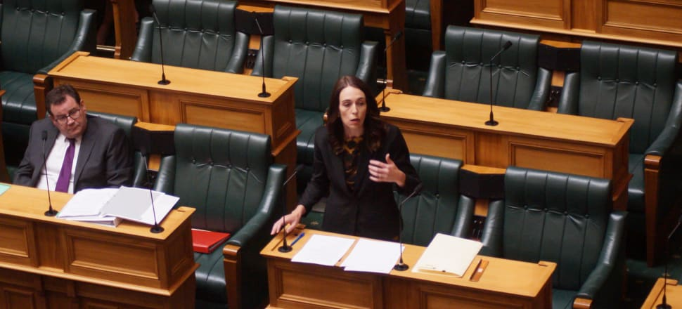 Jacinda Ardern would usually be flanked by her ministerial colleagues, but Parliament's debating chamber on Wednesday was desolate as it prepared to rise for a lockdown. Photo: Sam Sachdeva.
