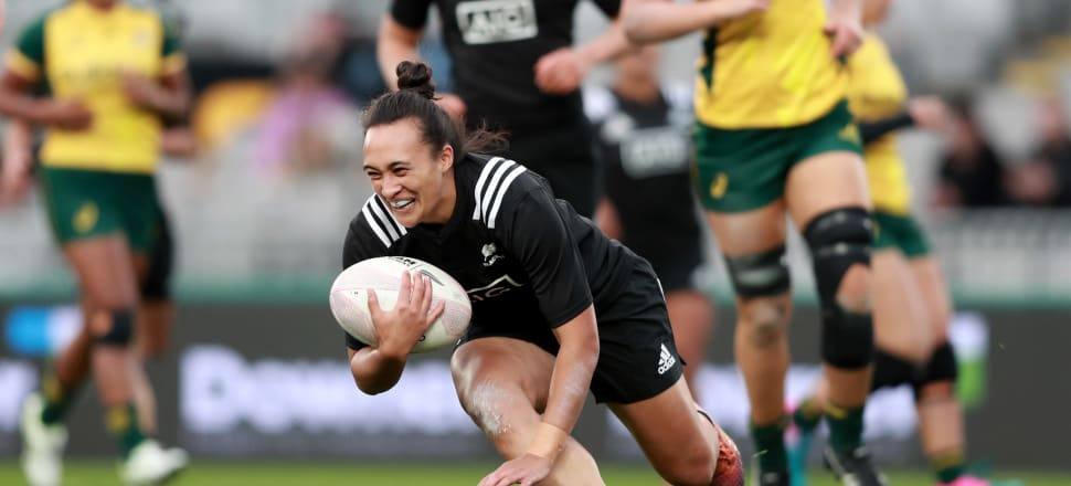 A jubilant Ruahei Demant scores the first try for the Black Ferns in their 37-8 victory over Australia's Wallaroos at Eden Park last August. Photo: Getty Images.