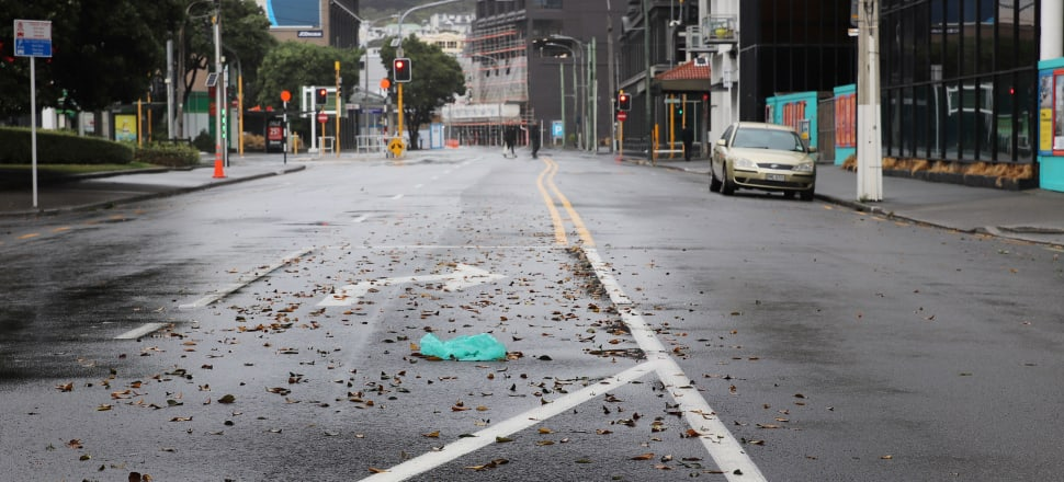 Wellington on Saturday afternoon. The Covid-19 lockdown has emptied out the CBD of every city in New Zealand. Photo: Lynn Grieveson