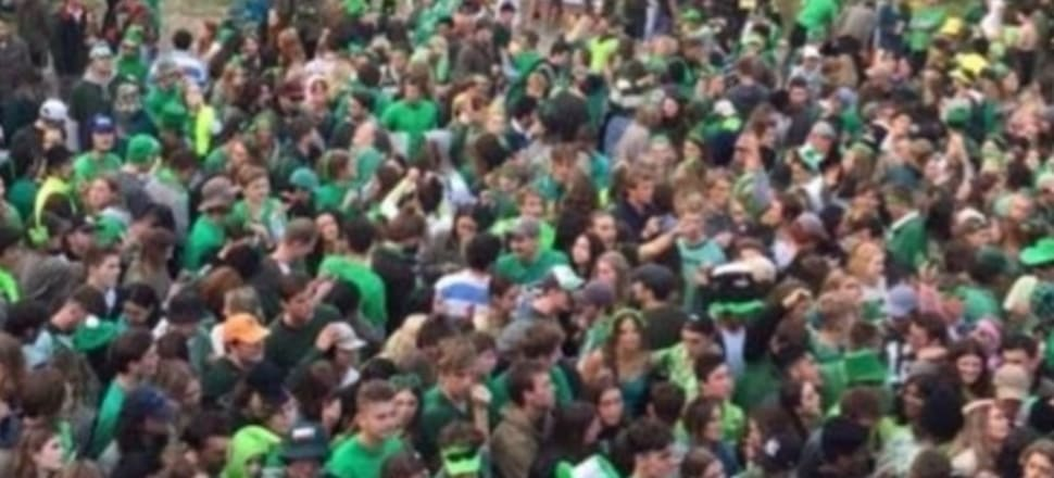 The Otago students' St Patrick's Day gathering.  Photo: Supplied