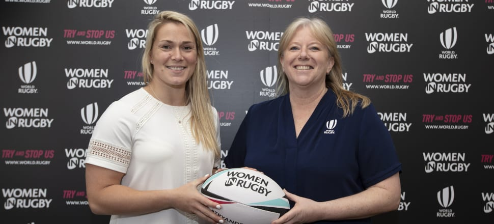 Kiwi Katie Sadleir, World Rugby's general manager of the women's game (right, with English international Rachael Burford) has been kept busy during Dublin's lockdown. Photo: World Rugby.