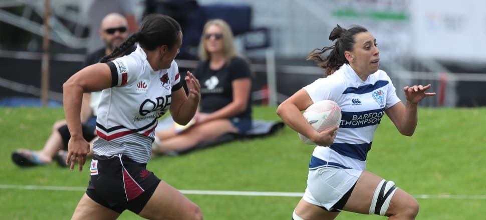 Grace Kukutai outruns North Harbour's Anita Berry on her way to scoring for Auckland at last year's national sevens tournament in Tauranga. Photo: Getty Images