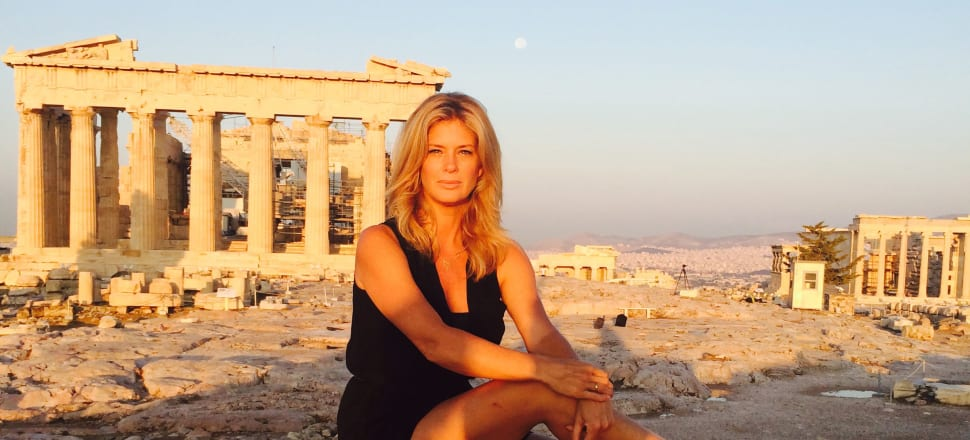 Rachel Hunter and some old buildings in her book Tour of Beauty,