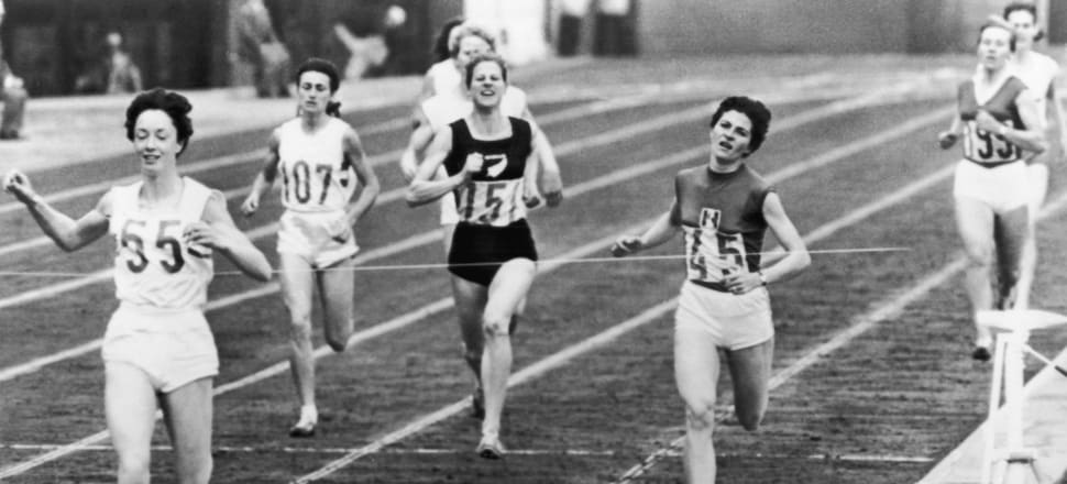 New Zealand runner Marise Chamberlain (#151) about to win bronze in the 800m at the 1964 Tokyo Olympics, behind gold medallist Britain's Ann Packer, left, and Frenchwoman Maryvonne Dupureur. Photo: Getty Images.
