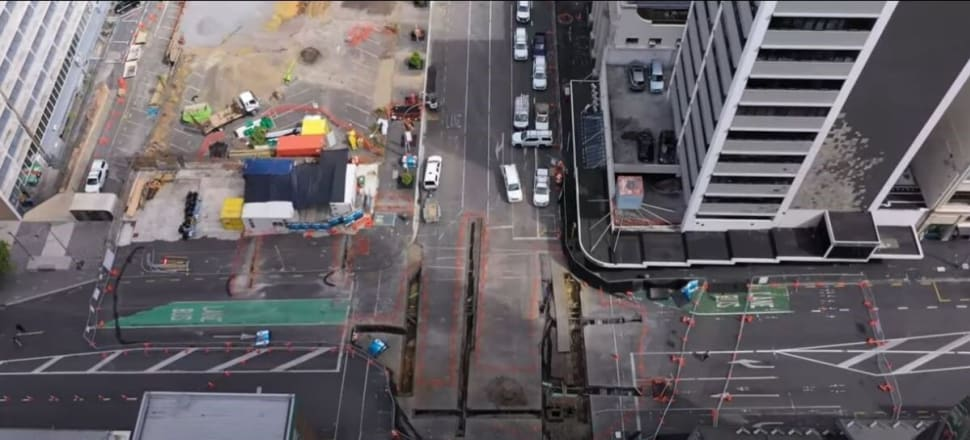 An aerial view of the tunnel preparations on Albert St. Photo: CRL website