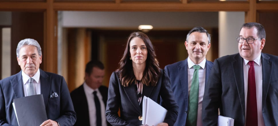 Jacinda Ardern, Grant Robertson, Winston Peters, and James Shaw head to the House to present the 2020 Budget. Photo: Pool