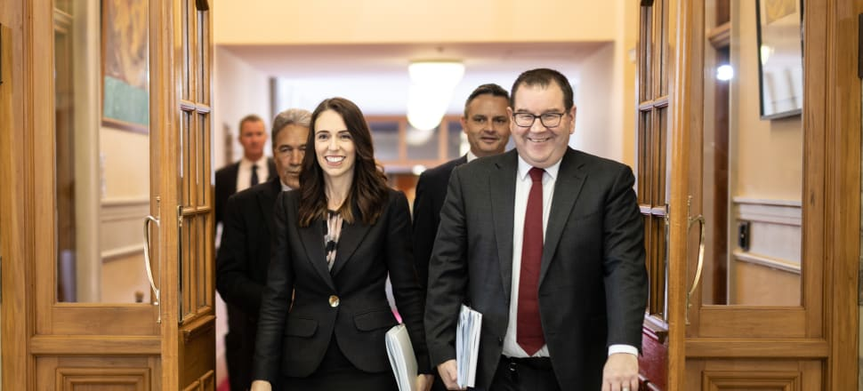 Prime Minister Jacinda Ardern and Finance Minister Grant Robertson were all smiles as they prepared to unveil the Budget on Thursday. Photo: Pool.
