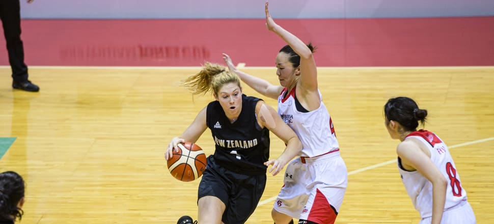 Debutant Tall Fern Mary Goulding in action against Japan in the William Jones Cup in Taiwan last July. Photo: Getty Images.