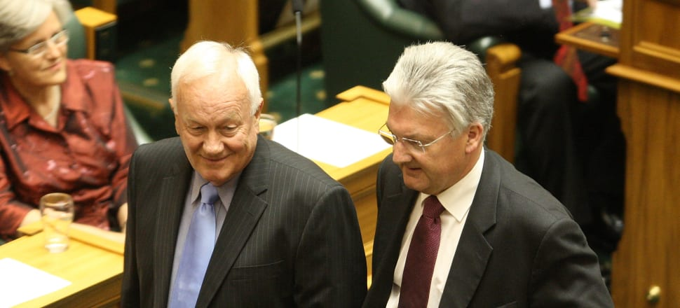Sir Roger Douglas and MP Peter Dunne at Parliament.  Photo: Getty Images