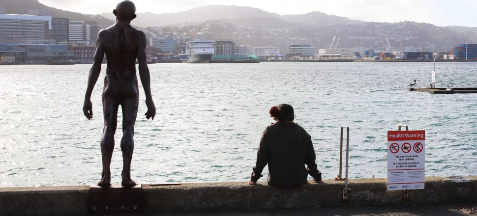 "A woman sits on the Wellington waterfront during lockdown, flanked by the ""Solace of the Wind"" sculpture and a water quality warning. Photo: Lynn Grieveson"