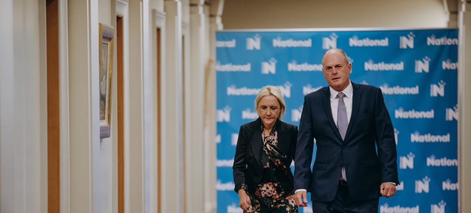New National leader Todd Muller and deputy Nikki Kaye clearly hope to present a more positive face to the public than his predecessor Simon Bridges. Photo: RNZ/Pool.