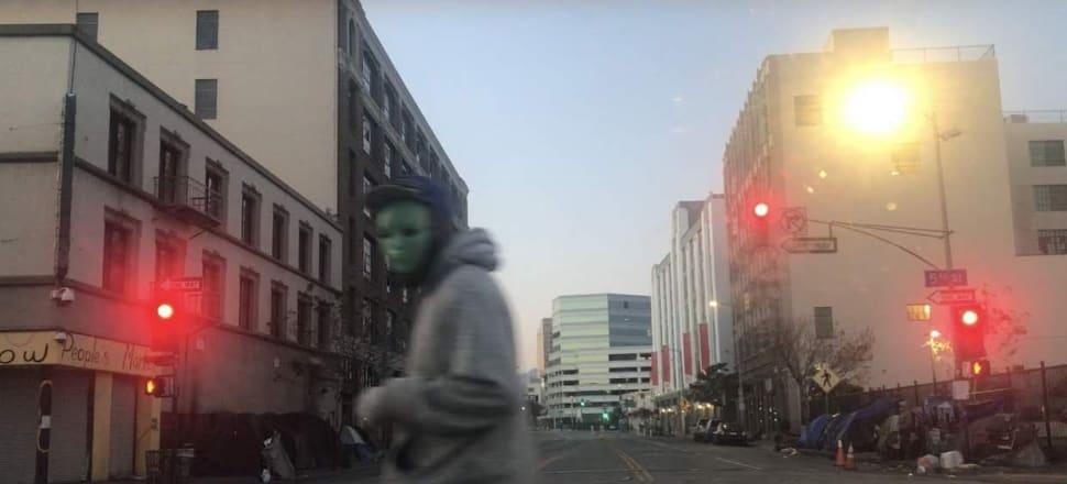 Masked man on Skid Row, May 2020. All photos by Anna Rankin.