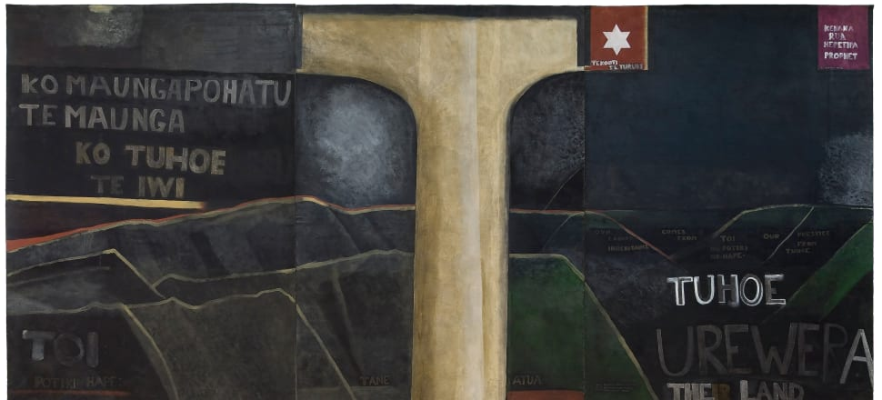 Urewera mural, 1975, synthetic polymer paint on three unstretched canvases, each 2158 x 1820 mm; overall: 2158 x 5460 mm. All images with permission should read Courtesy of the Colin McCahon Research and Publication Trust.