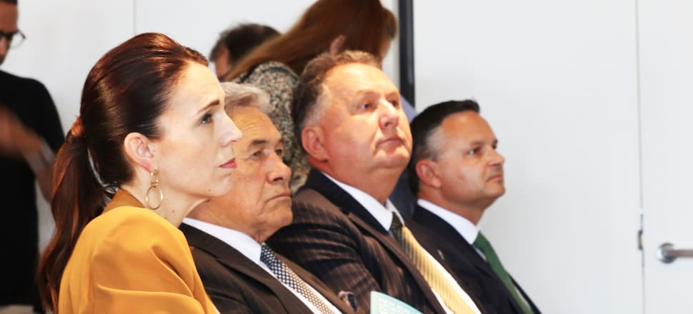 Jacinda Ardern with Winston Peters, Shane Jones and James Shaw. Photo: Lynn Grieveson