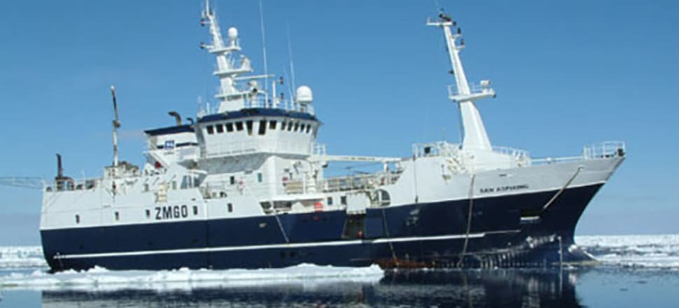 Sanford's first half pre-tax and interest earnings fell 16 percent to $23.2 million, in part due to a lower toothfish catch from the San Aspiring that reduced revenues by $5 million. (San Aspiring pictured by captain John Bennett). Photo: Supplied