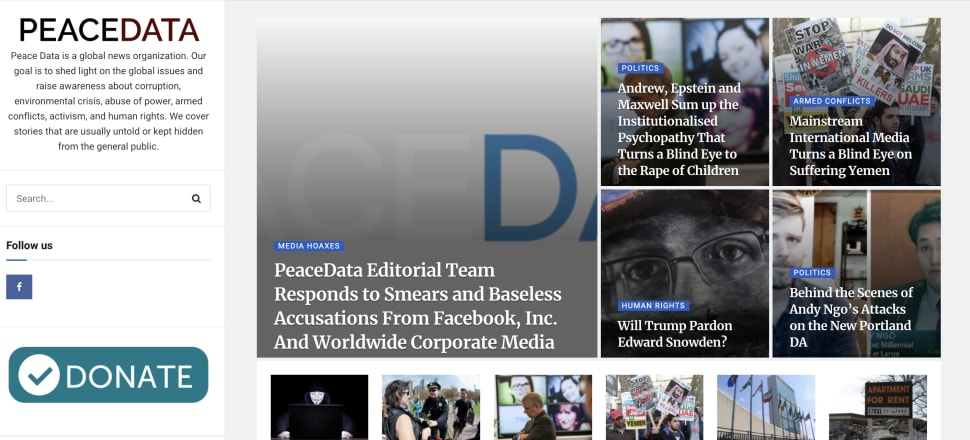 Peace Data purports to be a non-profit news site, focussed on raising awareness of geopolitical and human rights issues, at least that's what they told Laura Walters. Photo: Peacedata.net