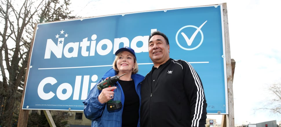 Judith Collins with husband David Wong-Tung. Photo: Getty Images