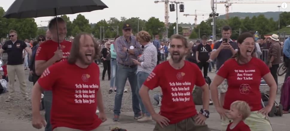 The 'haka' at the German anti-lockdown rally in May. Screenshot from Der Spiegel TV
