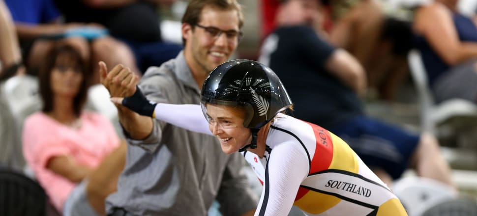 Kirstie Klingenberg is congratulated by her husband, Michael, after winning the 2019 national individual pursuit cycling title in Cambridge - a title she successfully defended this year. Photo: Cycling NZ.