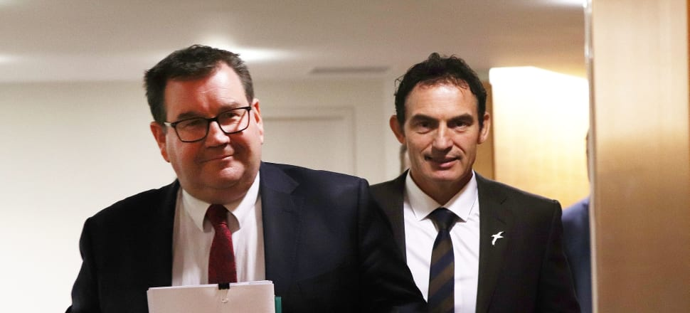 Finance Minister Grant Robertson and Revenue Minister Stuart Nash have outlined Labour's plans to pay down Covid-19 debt through a higher top tax rate. Photo: Lynn Grieveson.