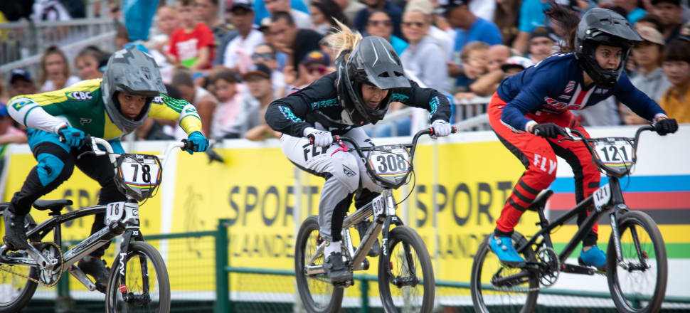 Kiwi rider Rebecca Petch (centre) racing at the 2019 UCI BMX world championships in Belgium, where she reached the quarterfinals. Photo: Nico van Dartel.