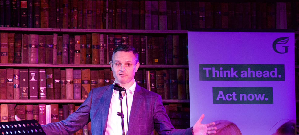 James Shaw tries out his stand-up routine at the Green Party's Rally for the Future in Wellington. Photo: Marc Daalder