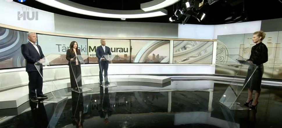 John Tamihere, Marama Davidson and Peeni Henare faced off in The Hui's Tāmaki Makaurau debate. Screenshot: The Hui.