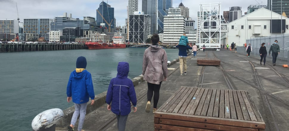 The Milne family, down on Queens Wharf for an escorted self-distancing walk around in circles.  Photo: Siniva Kite